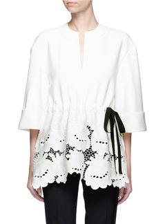 Love this by VICTORIA VICTORIA BECKHAM 'Delft' floral lace hem T-shirt - $360