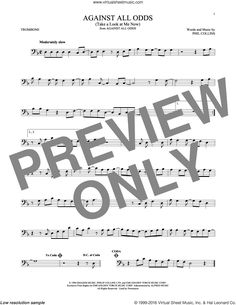 Collins - Against All Odds (Take A Look At Me Now) sheet music for trombone solo Digital Sheet Music, Trombone Sheet Music, Tenor Sax, The Beach Boys, Phil Collins, James Brown, Me Now, Sheet Music