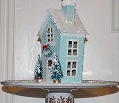 paper mache house project | Vintage Paper Cardboard Victorian Christmas Village Houses Old