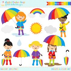 Rainy Day Digital Clip Art: Set includes: little girls in raincoats and rubber boots holding umbrellas, clouds, sun, rainbow, raindrop, umbrellas, puddle and mud puddle. Perfect for all of your Spring projects and crafts!