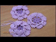 Crochet flower:  Lesson 15 Color knitting Knitting Crochet Flower with 3-d lepest Вязание Цветов Урок 15 Вязание Цветка крючком с объемными лепестками