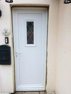 UPVC Monroe Cottage Style Front Door with Diamond Lead and White Furniture. & UPVC Taft with Georgian Bar Front Door \u0026 Chrome Furniture. | UPVC ...