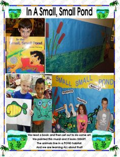 we painted a pond mural Easter Plants, Small Ponds, Habitats, Extensions, Insects, Kindergarten, Literature, Baseball Cards, Spring