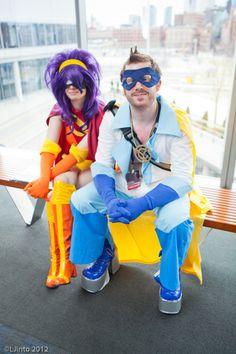 Captain Yesterday (Fry) and Cloberrella (Leela) from Futurama