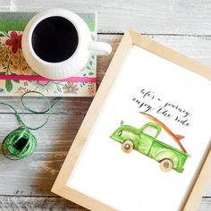 I painted a cute little old car inspired by a children's book and I'm sharing it with you as a FREE printable!
