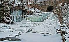 Plan a winter trip to Little Niagara Falls near Pleasant Mount in Wayne County. #PASnowDays