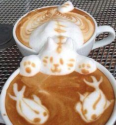 Coffee Art In Two Mugs. incredible! #coffee #latte