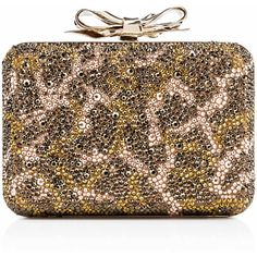 Christian Louboutin Fiocco Box Strass Clutch ($2,995) ❤ liked on Polyvore featuring bags, handbags, clutches, bolsas, purses, christian louboutin, version moka, brown leather handbags, special occasion clutches and man bag