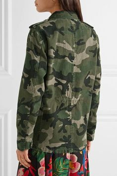 Valentino - Striped Camouflage-print Cotton-gabardine Jacket - Army green - IT