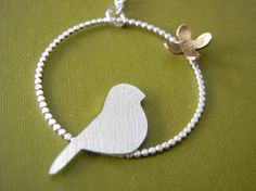 Sterling Silver Bird Necklace by megangillis on Etsy, $48.00