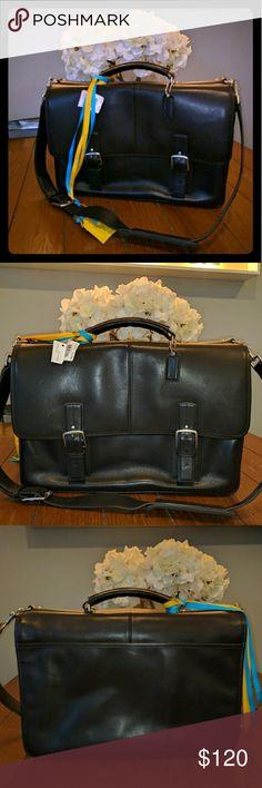 Coach brief case Black leather Coach brief case Coach Bags Laptop Bags