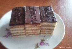 Dobošové rezy Czech Recipes, Waffles, Health Fitness, Breakfast, Food, Cakes, Basket, Morning Coffee, Cake Makers