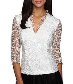 Alex Evenings Embroidered Scallop Blouse #Dillards