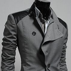 Futuristic mens suit coat gray/grey  Soldier uniform: army/forest green with same faux leather inserts