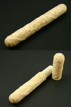 "A Louis XV Carved Ivory Billet Doux Etui, c.1750. A billet doux, literally a ""sweet note,"" i.e. love letter, was rolled up, sealed with wax, and placed inside the etui, a small ornamental case, before being handed to a servant or other courier to hand deliver to the intended recipient. These cases were made of many materials, not just ivory."