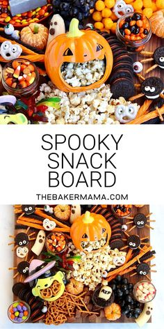 Create at Spooky Snack Board for Halloween that is sure to get all the ghosts and goblins excited! This sweet and salty snack board has something for everyone and is sure to be a Halloween hit! #spookysnackboard #halloweensnacks