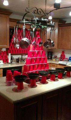 the chip holders were made from recycled pasta bowls hot glued to the red solo cup Frat Party Themes, Frat Parties, Birthday Party Themes, Birthday Ideas, Red Cup Party, Trailer Trash Party, Boyfriends 21st Birthday, Redneck Christmas, White Trash Party