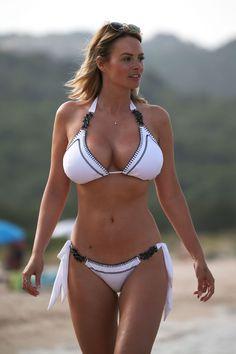 Rhian Sugden flaunts her ample bust in white bikini during honeymoon in Sardinia with Oliver Mellor Honeymoon Bikini, Bikini Beach, Hot Bikini, Bikini Girls, Bikinis, Swimwear, Beachwear, Sexy Women, Costumes