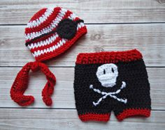 Pirate crochet baby set complete with hat eye patch shorts