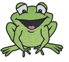 Smiling Frog embroidery design from embroiderydesigns.com