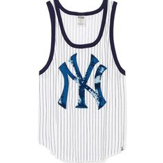 ⚾️ Medium PINK Bling Tank- New York Yankees (NWY) FIRM PRICE.... This soft, blinged out top is a style win for game day every day. From the Victoria's Secret PINK Collegiate Collection.  Slouchy fit Crewneck Curved hem Sequin graphics Imported cotton/polyester PINK Victoria's Secret Tops Tank Tops