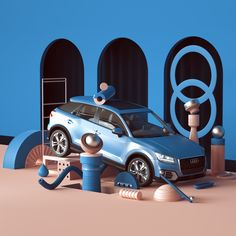 10 brands that use design in their visual communication Car Advertising, Advertising Design, Audi Motor, Audi Q, 3d Figures, Showroom Design, Car Colors, Exhibition Booth, Car Posters