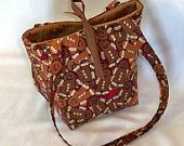 Christmas Tote Bag Purse Brown Gingerbread Man Cookie Fabric Small Fabric Bag Teen Purse Shoulder Bag