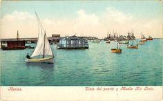 """Postales de Huelva :Puerto de Huelva y Muelle del Tinto. El Muelle de mineral de la compañía Riotinto es un muelle-embarcadero comercial de desembarco de material procedente de las minas de la compañía minera """"Rio Tinto Company Limited"""", construido a principios del siglo XX sobre el río Odiel.  Es conocido comunmente como el """"Muelle del Tinto"""". En la actualidad está en desuso pero es visitable como lugar de paseo o de pesca.  Fue declarado Bien de Interés Cultural en 2003."""