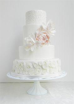 Pretty White Wedding Cake with Pink Peony