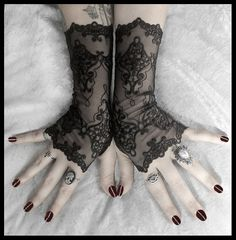 Arianna Long Lace Fingerless Gloves  Black by ZenAndCoffee on Etsy, $35.00