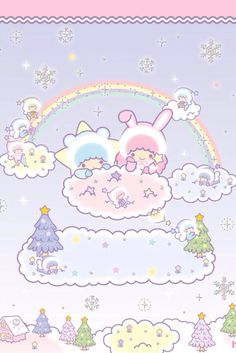 Sanrio little twins stars christmas wallpapers cute · kawaii Sanrio Wallpaper, Star Wallpaper, Hello Kitty Wallpaper, Wallpaper Iphone Disney, Kawaii Wallpaper, Little Twin Stars, Little Star, Badtz Maru, Animal Crossing