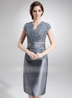 Sheath/Column V-neck Knee-Length Taffeta Lace Mother of the Bride Dress With Beading (008006293)