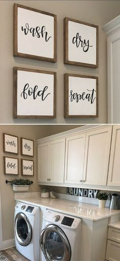 Today I am sharing some of our readers favorite DIY Home Projects from The . Today I am sharing some of our readers favorite DIY Home Projects from The Avenue and also a few other amazing home decor ideas that were linked up . Laundry Room Wall Decor, Laundry Room Remodel, Laundry Room Signs, Laundry In Bathroom, Laundry Area, Laundry Closet, Small Laundry, Warm Bathroom, Home Wall Decor