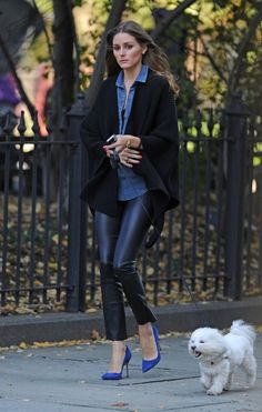 Olivia Palermo with chambray blouse, blazer and cobalt pumps