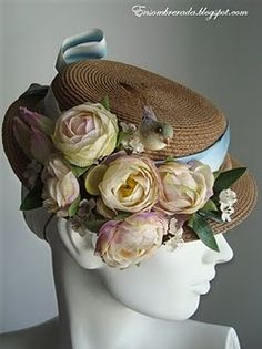 bouquet of flowers on straw hat