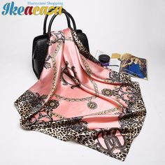 Ikeacasa bufanda шарф sciarpa écharpe Schal Pink Leopard Scarf Women Fashion Luxury Brand Print Large Square Silk Scarfs Foulard Head Hijab for Wholesale 90*90cm - Ikeacasa, Toys & Children, Home & Garden, Computers, Imagery & Network, Funny & original gifts