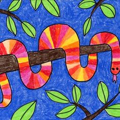 Learn how to draw a Tree Snake that looks like it's wrapping around a branch. It's easy if you draw it one step at a time. Art Lessons For Kids, Art Lessons Elementary, Art For Kids, Elementary Drawing, 3rd Grade Art Lesson, 2nd Grade Art, Grade 2, Second Grade, Spring Art Projects