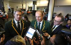 Springbok captain of 1995, Francois Pienaar, and current captain Jean de Villiers are seen at the FNB Stadium on Tuesday for former president Nelson Mandela's memorial service. Picture: THE TIMES