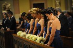 royal blue bridesmaids and white hydrangeas
