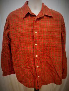 Men's Old Navy Red Plaid Long Sleeve Button Down Shirt 100% Cotton Size L #OldNavy #ButtonFront