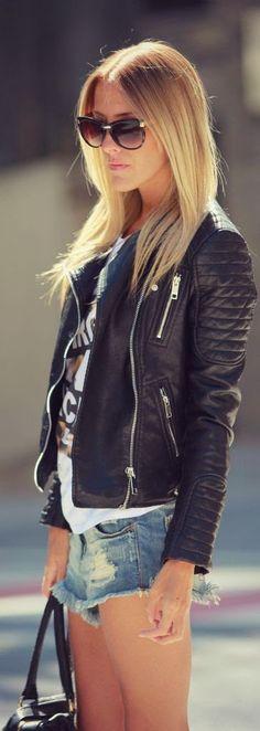 Luv to Look | Luxury Fashion & Style: Blonde leather jacket denim shorts