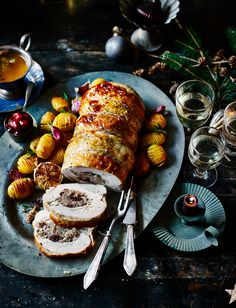 A turkey breast, stuffed and rolled, will feed about six people perfectly, and makes a really beautiful centrepiece on the Christmas table