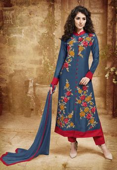 Grey and Red Chanderi Party Wear Suit 8000/-