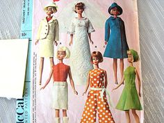 Vintage 1960s Barbie Doll Clothes Pattern by PatternsFromThePast, $14.50