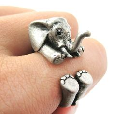 mika_grace's save of 3D Baby Elephant Animal Wrap Around Ring in Silver | US Sizes 5 to 8.5 on Wanelo