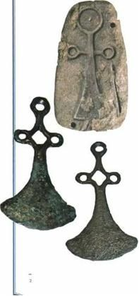 Ukrainian symbol Ankh (in form of axes heads) of Sabatynivka local archaeological culture-Trypillian civilization II millennium B.C.~ ( Sabatynivka, Kirovograd region of Ukraine)