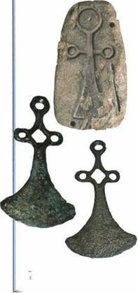 Ukrainian symbol Ankh (in form of axes heads) of Sabatynivka local archaeological culture-Trypillian civilization II millennium B.C.~ ( Sabatynivka, Kirovograd region of Ukraine)