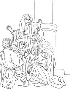 Simeon And Anna Recognize The Lord In Jesus Coloring Page