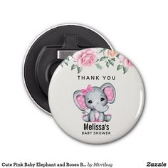 Cute Pink Baby Elephant and Roses Baby Shower Bottle Opener Baby Elephant, Elephant Gifts, Baby Shower Thank You Gifts, Cute Pink, Party Hats, Bottle Openers, Roses, Fancy, Barware