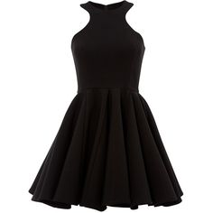 Bedlum Black Full Skirt Skater Mini Dress (985 VEF) ❤ liked on Polyvore